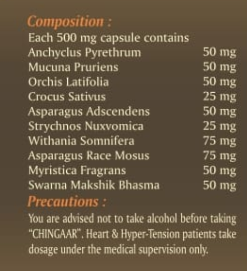 chingaar sex capsule composition
